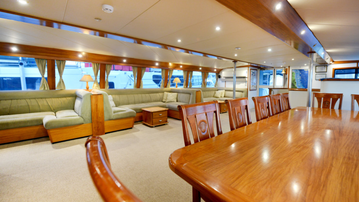 Interior of luxury private charter boat, Cairns