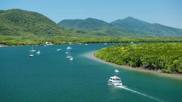 Aerial view to Trinity Inlet with Cairns cruise boat in background