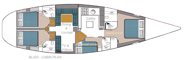 Vessel interior and cabin loactions