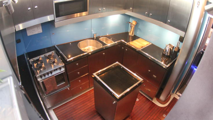 The fully equipped galley where the on board chef will delight you with gourmet meals