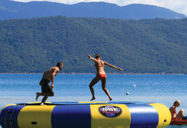 Have fun on the sea trampoline