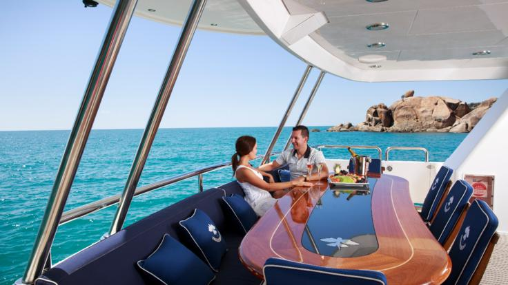 Dining out on your luxury charter yacht from Port Douglas