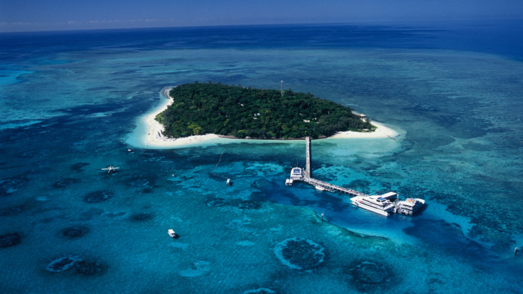 Helicopter aerial view Stunning Green Island, Tropical North Queensland