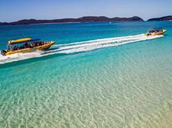 Hi speed boat ride to snorkel Whitehaven Beach after Scenic Flight