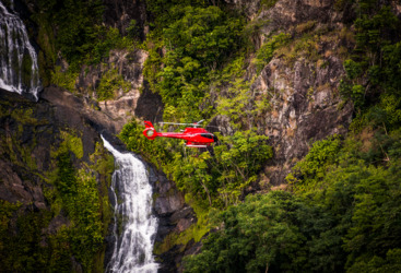Enjoy a private scenic heli flight to a private waterfall in the Daintree