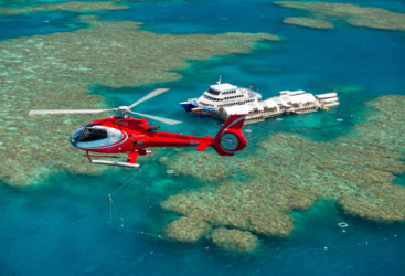Helicopter flight to pontoon on Great Barrier Reef from Cairns