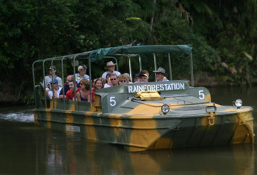 Amphibious army duck tour at Rainforestation