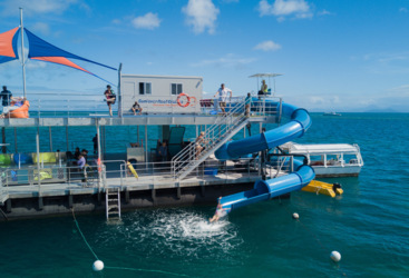 Moore Reef pontoon and spaghetti waterslide, Great Barrier Reef