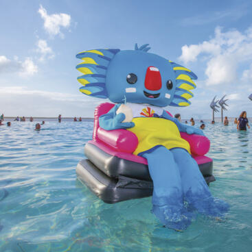 GC2018 mascot in Cairns lagoon