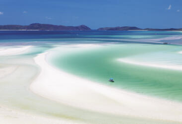 The pure white sands of Whitehaven Beach, Whitsunday Island